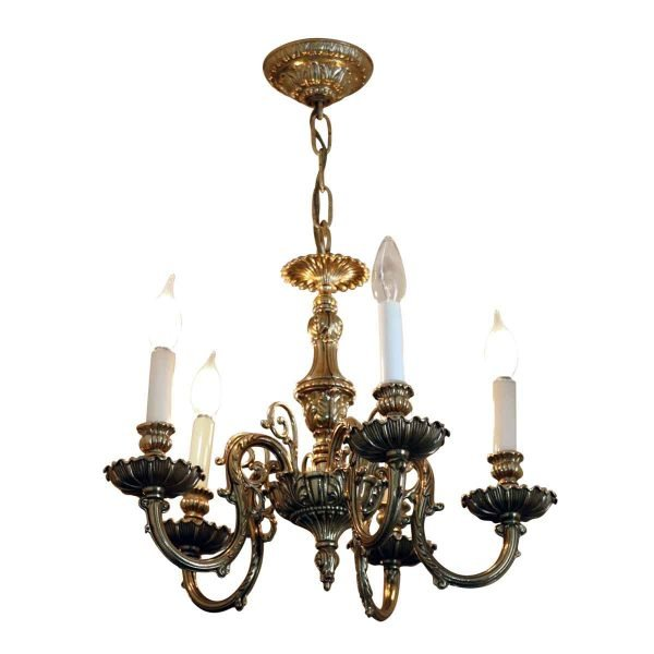 Chandeliers - Salvaged Waldorf Petite Cast Brass Chandelier