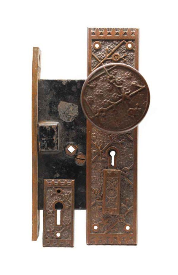 Door Knob Sets - Antique Sargent Bronze Vernacular Complete Door Knob Set