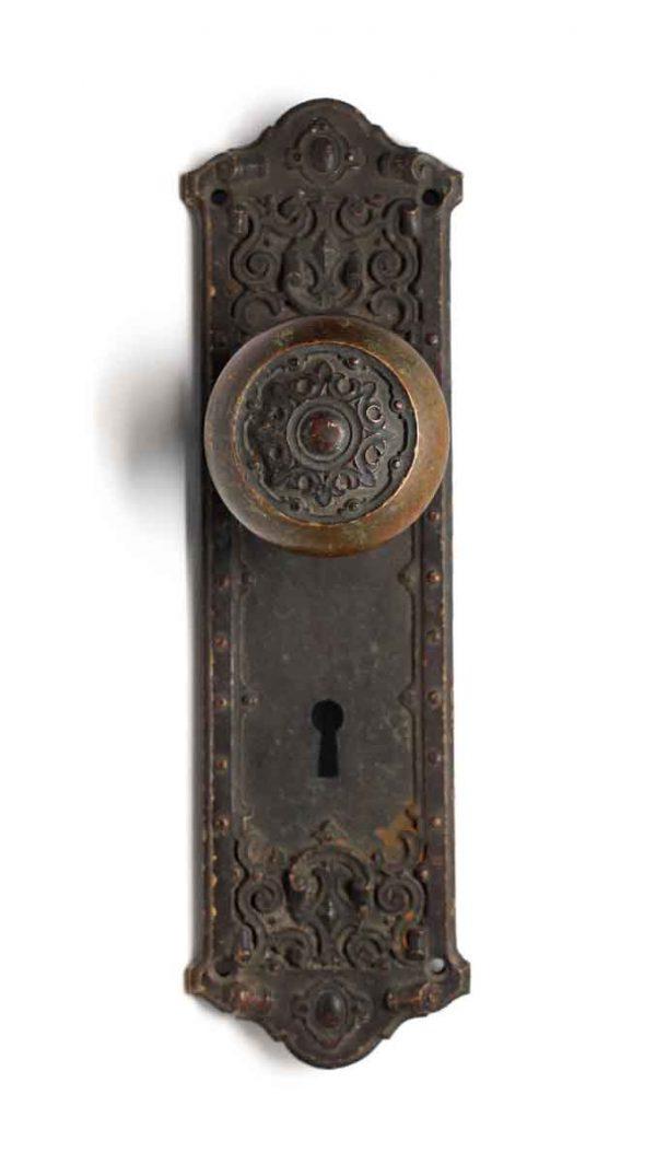 Door Knob Sets - Antique Victorian Bronze Door Knob with Matching Plate