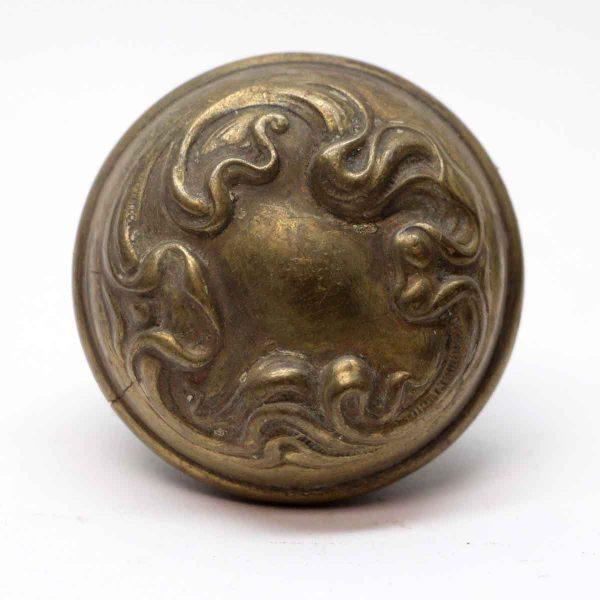 Door Knobs - Antique Sargent Art Nouveau Brass Asymmetrical Knob