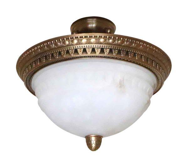 Flush & Semi Flush Mounts - Salvaged Waldorf Alabaster & Bronze Semi Flush Bowl Light
