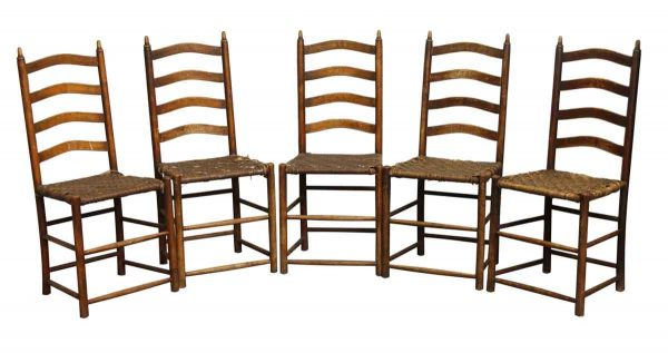 Kitchen & Dining - Set of 5 Ladder Back Chairs with Woven Seats