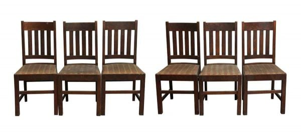 Kitchen & Dining - Set of Six Oak Arts and Crafts Straight Back Chairs