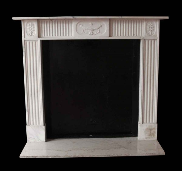 Mantels - Salvaged Waldorf English Regency Carved White Marble Mantel