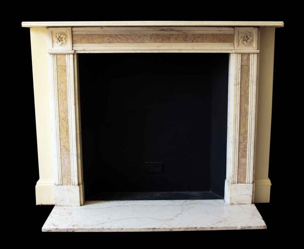 Mantels - Salvaged Waldorf English Regency White Marble with Sienna Inlay