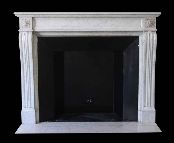 Mantels - Salvaged Waldorf French Regency Carved Carrara Marble Mantel