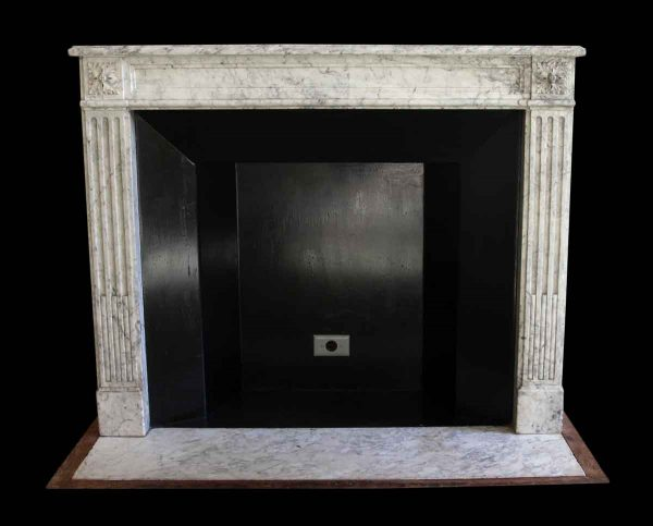 Mantels - Salvaged Waldorf French Regency White Carrara Marble Mantel