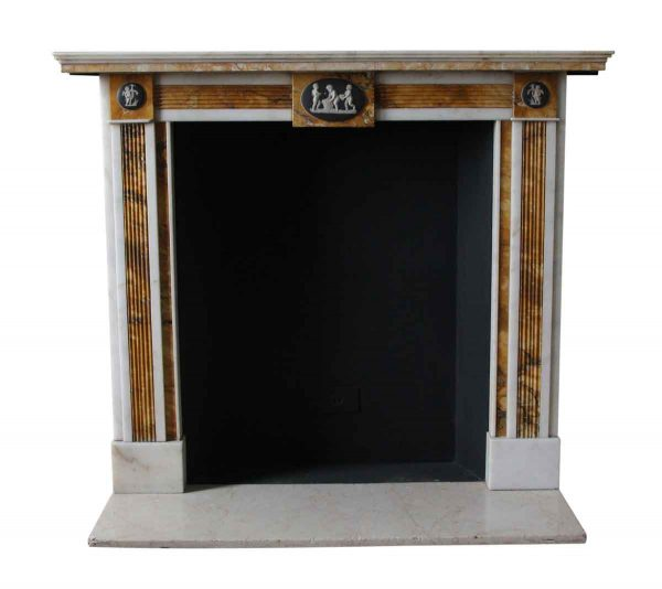 Mantels - Salvaged Waldorf Petite Regency Statuary & Sienna Marble Mantel