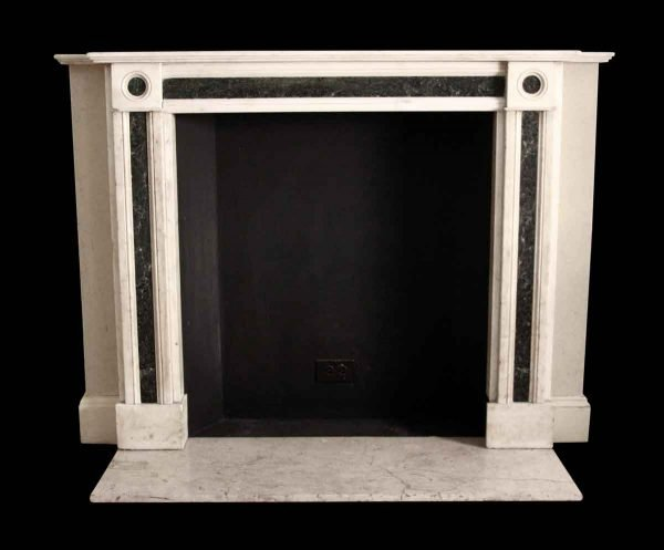 Mantels - Salvaged Waldorf White & Green English Marble Mantel