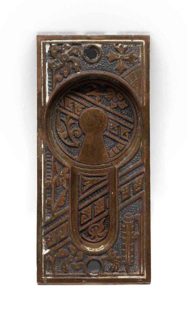 Pocket Door Hardware - Antique Aesthetic Bronze Pocket Door Plate