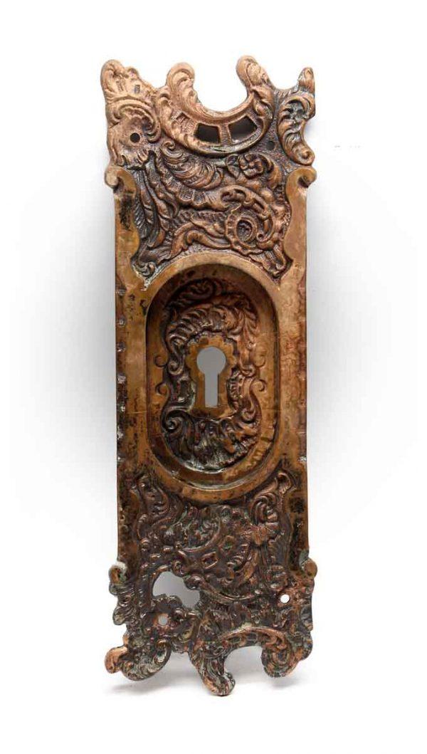 Pocket Door Hardware - Art Nouveau Bronze Pocket Door Plate with Keyhole