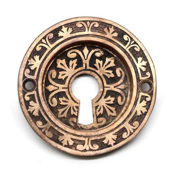 Pocket Door Hardware - Round Bronze Pocket Door Plate