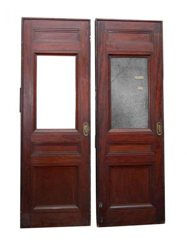 Pocket Doors - Old Pocket Door with Textured Glass Panel