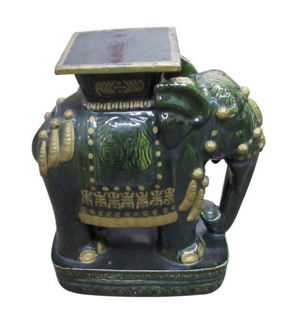 Statues & Sculptures - Vintage Ceramic Green Elephant
