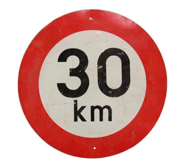 Vintage Signs - Vintage Steel European 30 KM Road Sign