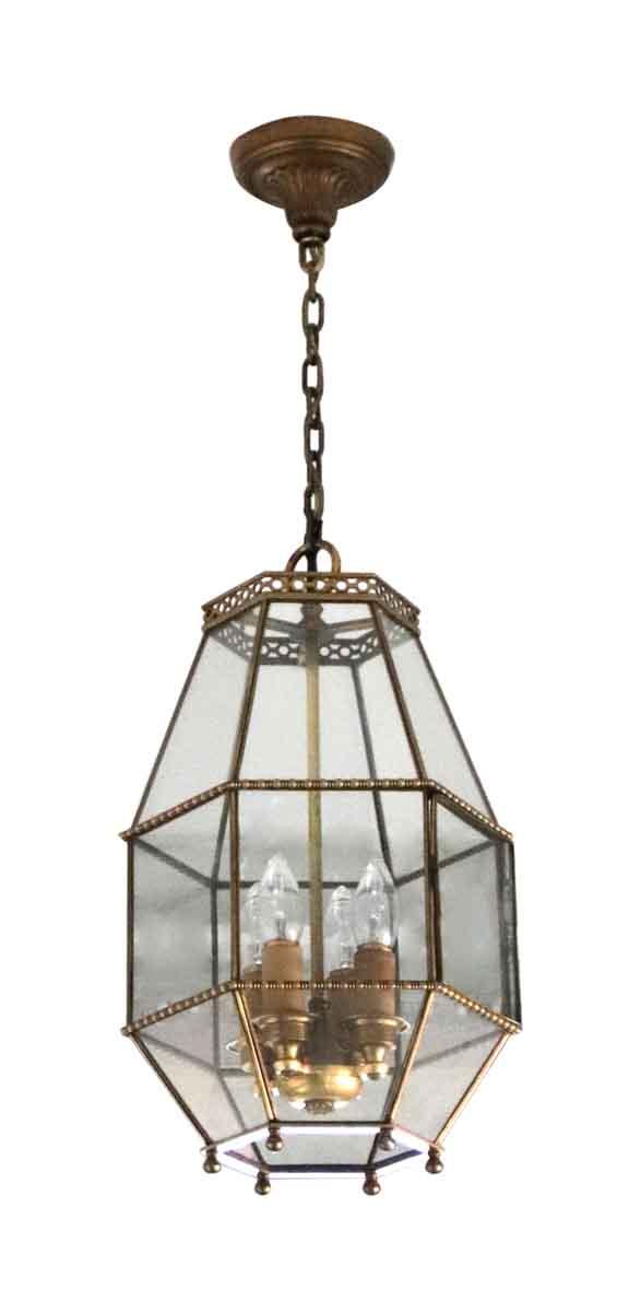 Wall & Ceiling Lanterns - Salvaged Waldorf EF Caldwell Brass & Glass Lantern