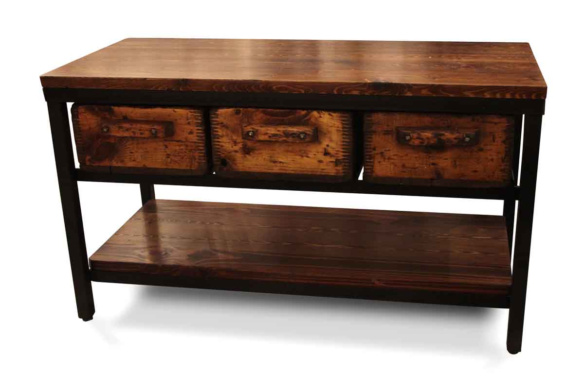 Reclaimed Wood Console Table With Drawer ~ Reclaimed pine three wood drawer console table olde good