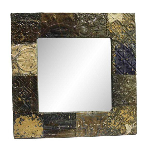 Antique Tin Mirrors - Dark Metallic Mixed Pattern Antique Tin Mirror