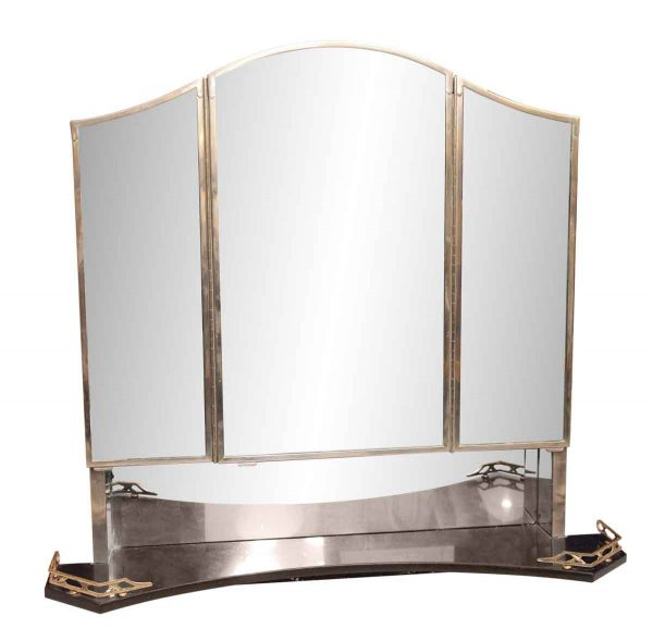 Bathroom - Art Deco Medicine Cabinet with Triple Mirror & Black Marble Shelf