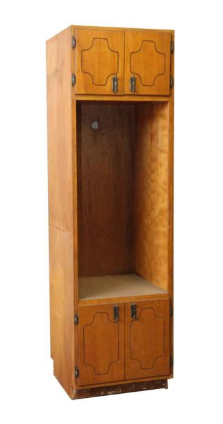 Antique cabinets olde good things tall narrow kitchen cabinet with open section for an appliance malvernweather Choice Image