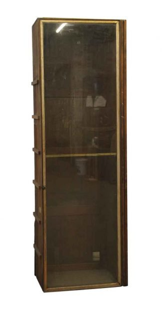 Tall Wood Built In Cabinet With Glass Front
