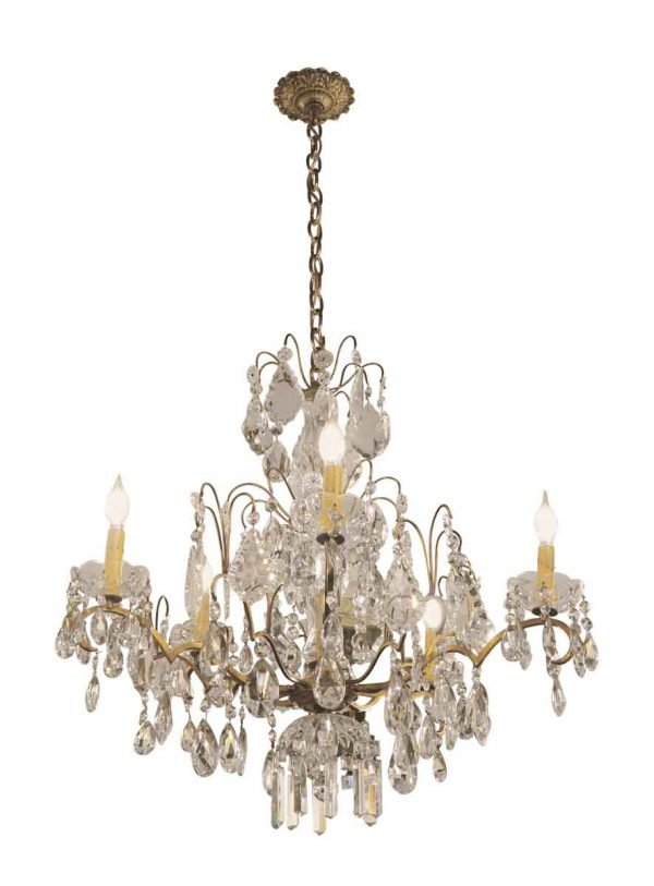 Chandeliers - Salvaged Waldorf Bronze & Crystal Chandelier
