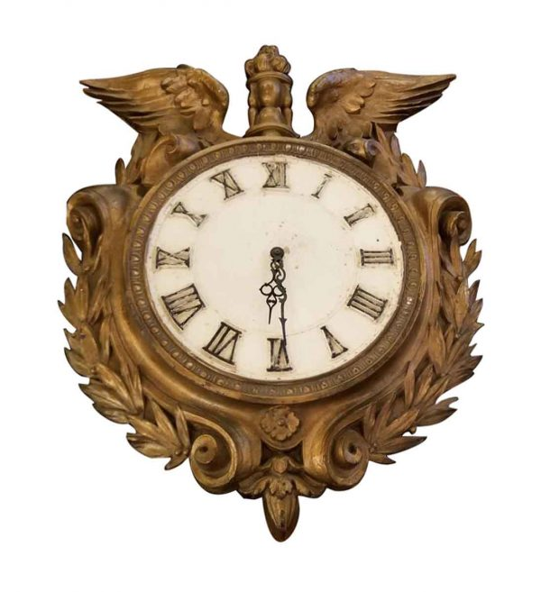 Clocks  - Early 1900s Bronze Plated Clock with Eagle Wings & Wreath Motif