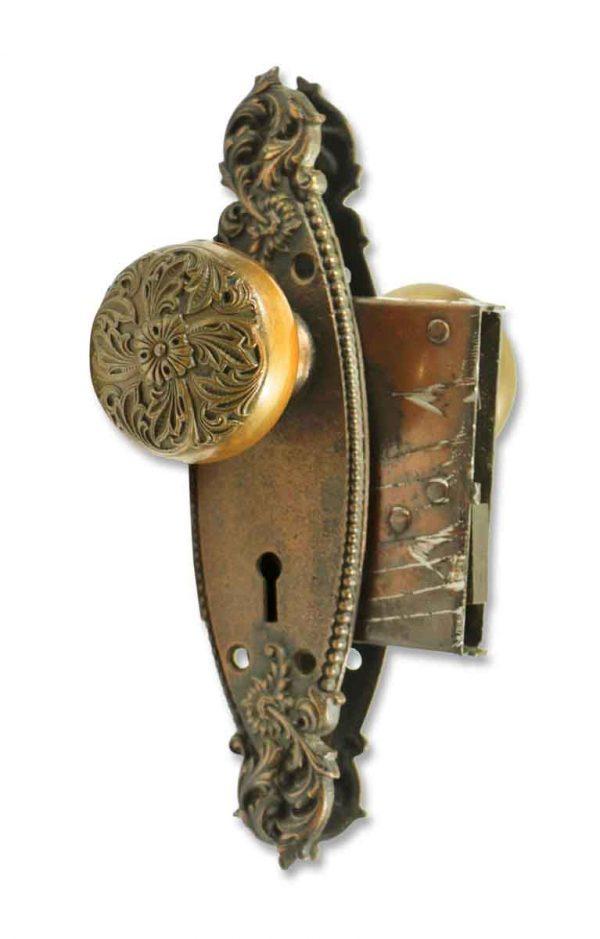 Door Knob Sets - Antique Barrows Romanesque Knob & Lock Set