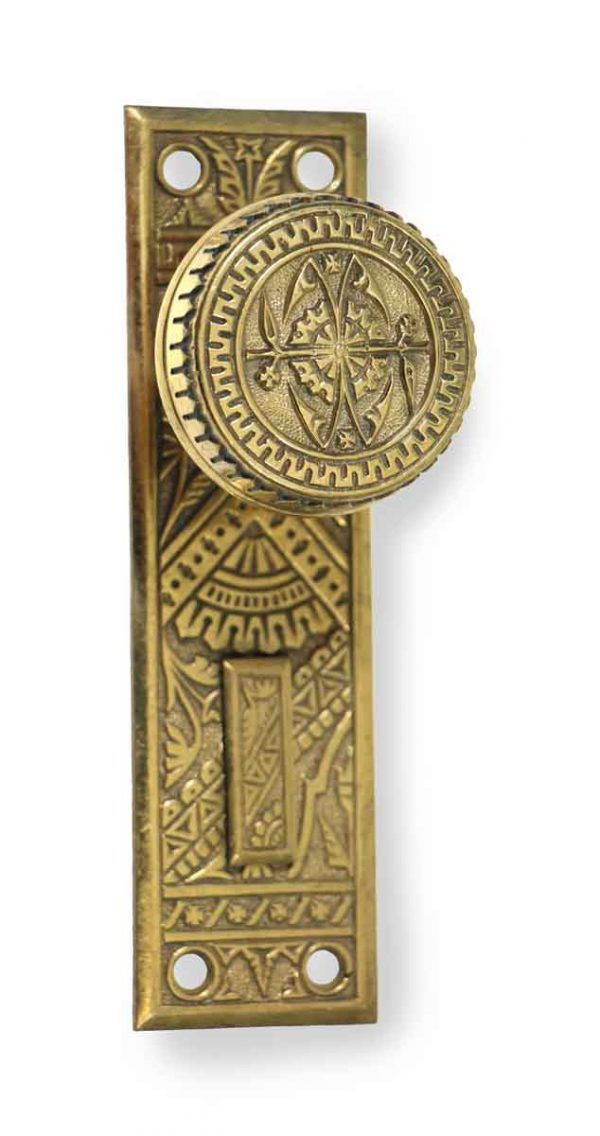 Door Knob Sets - Antique Branford Brass Door Knob & Plate
