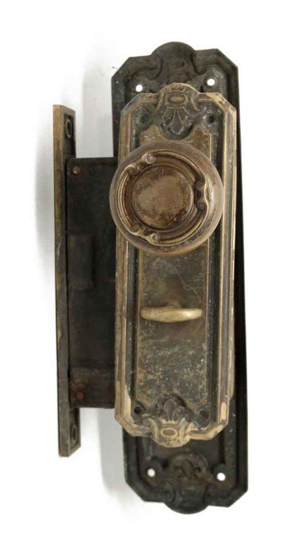 Door Knob Sets - Antique Brass 3 Fold Knob & Lock Entry Set