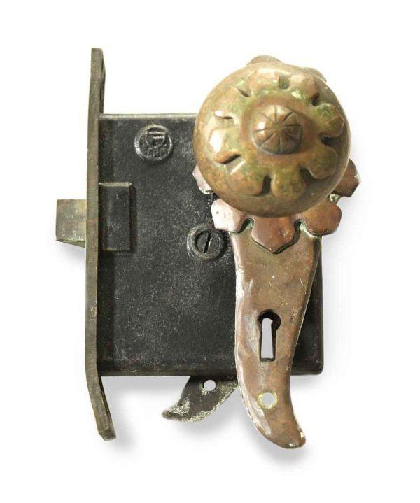 Door Knob Sets - Antique Bronze Arts & Crafts Door Knob & Lock Set