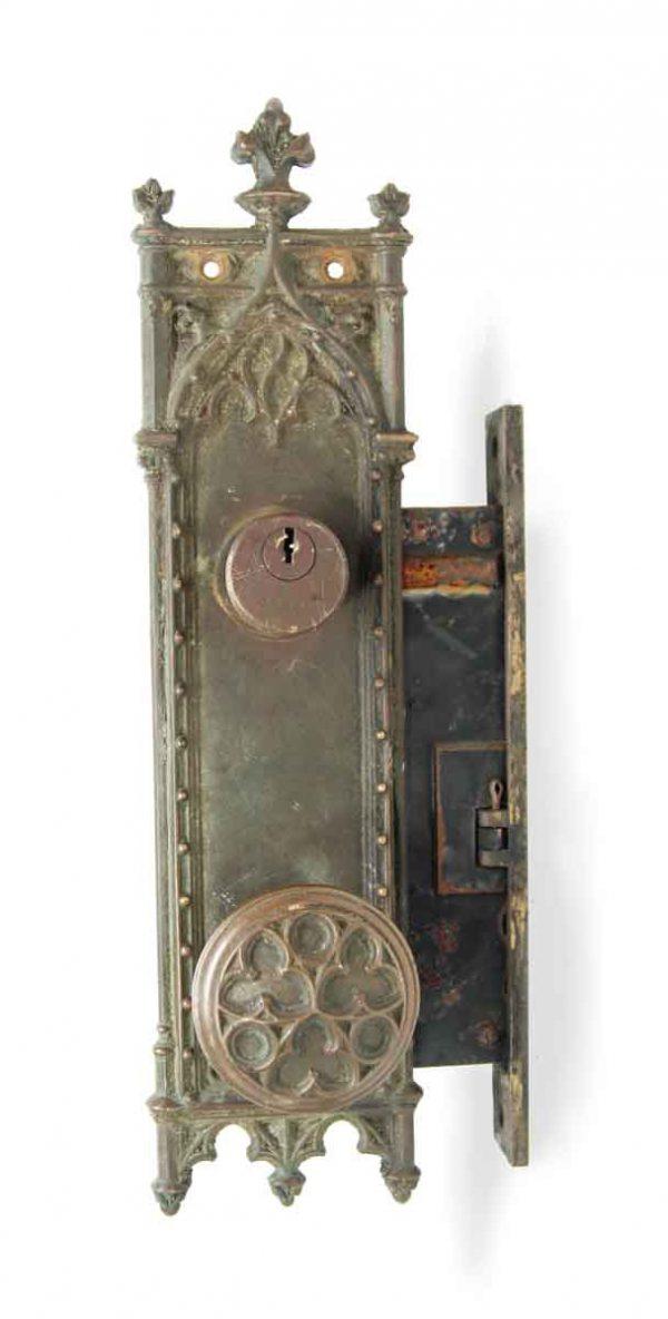 Door Knob Sets - Antique Bronze Corbin Gothic Entry Knob & Lock Set