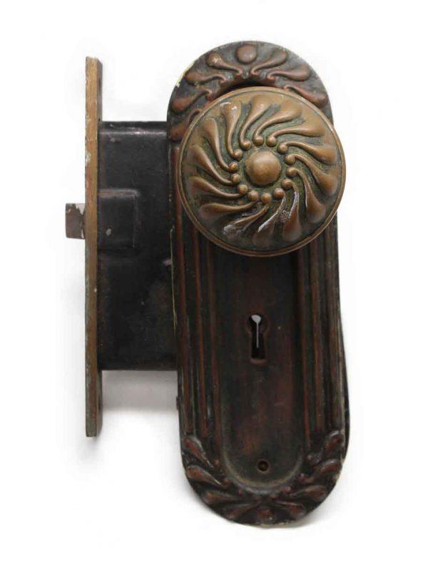 Door Knob Sets - Antique Bronze Corbin Knob Door Plate & Lock Set