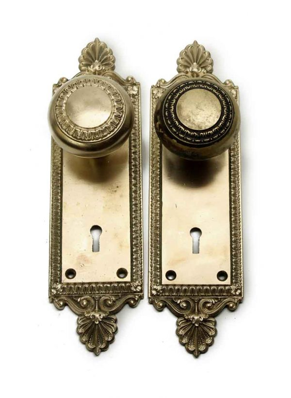 Door Knob Sets - Antique Concentric Cast Brass Knobs with Plates