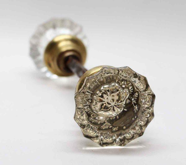 Door Knob Sets - Antique Fluted Glass Knob Set with Brass Shank