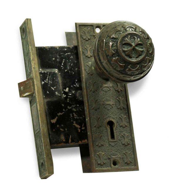 Door Knob Sets - Antique Nashua Four Fold Knob & Lock Set