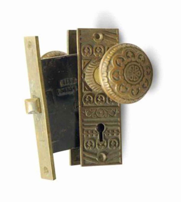 Door Knob Sets - Antique Niles Vernacular Bronze Door Knob & Lock Set
