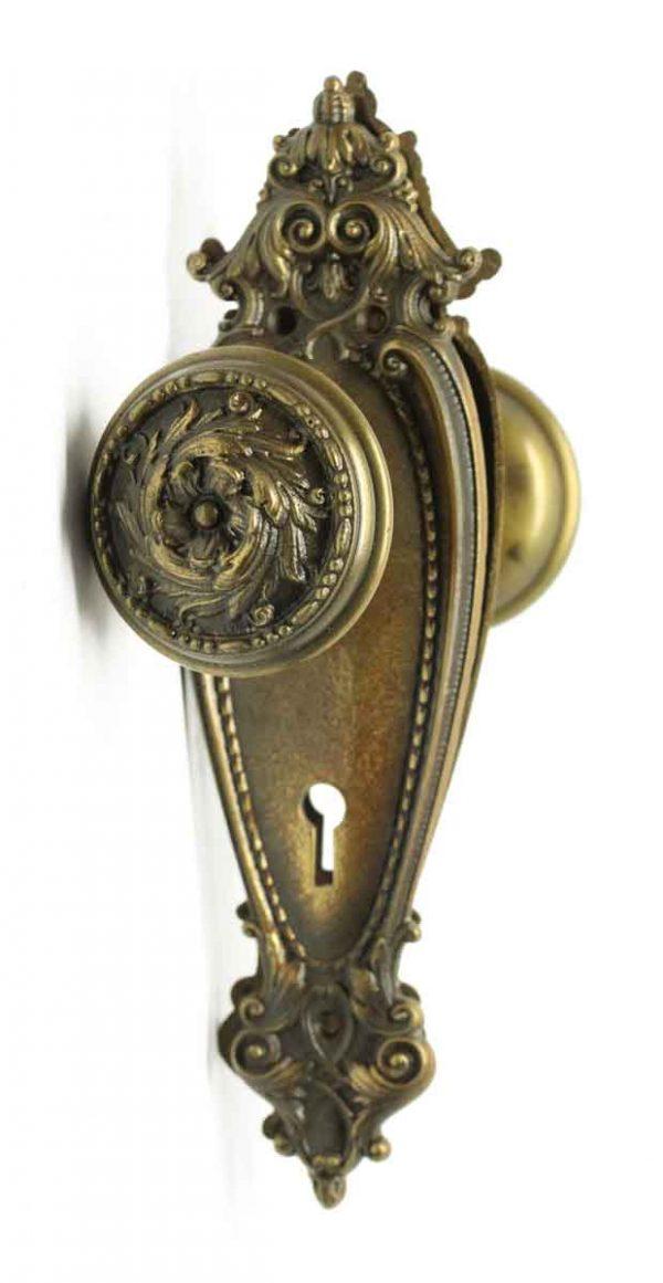Door Knob Sets - Antique Romanesque Barrows Bronze Door Knob Set