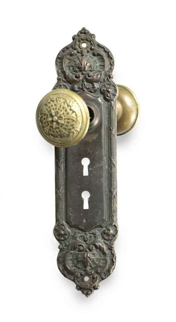 Door Knob Sets - Antique Yale & Towne Bronze Door Knob Set