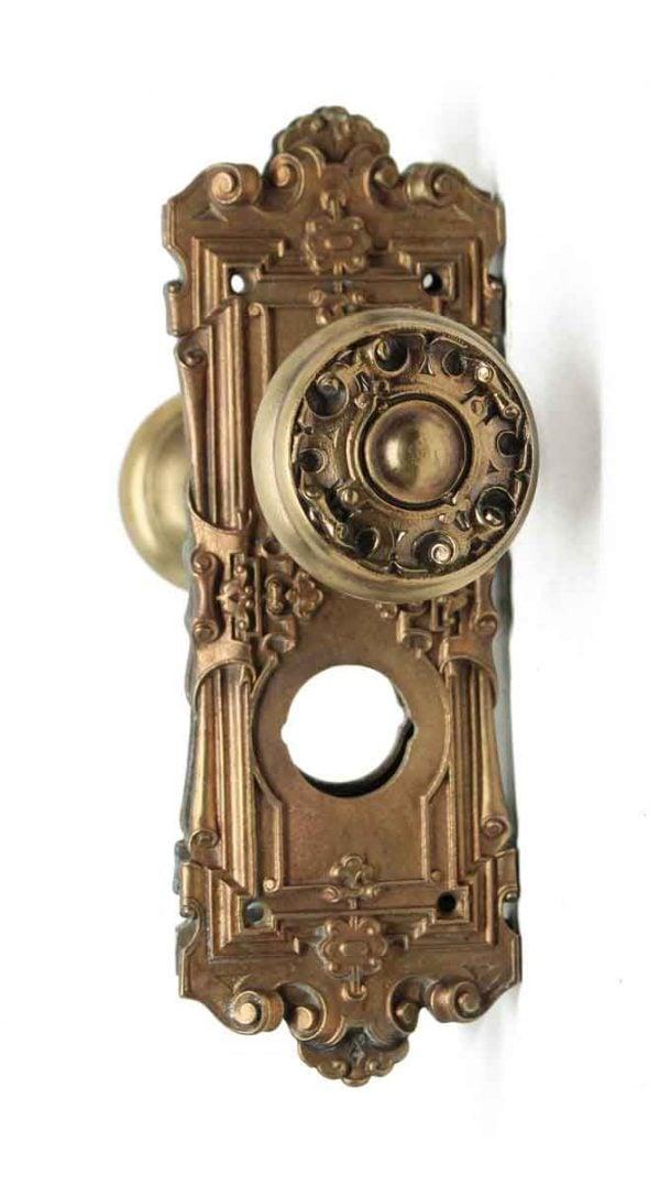 Door Knob Sets - Antique Yale & Towne Gothic Brass Door Knob Set