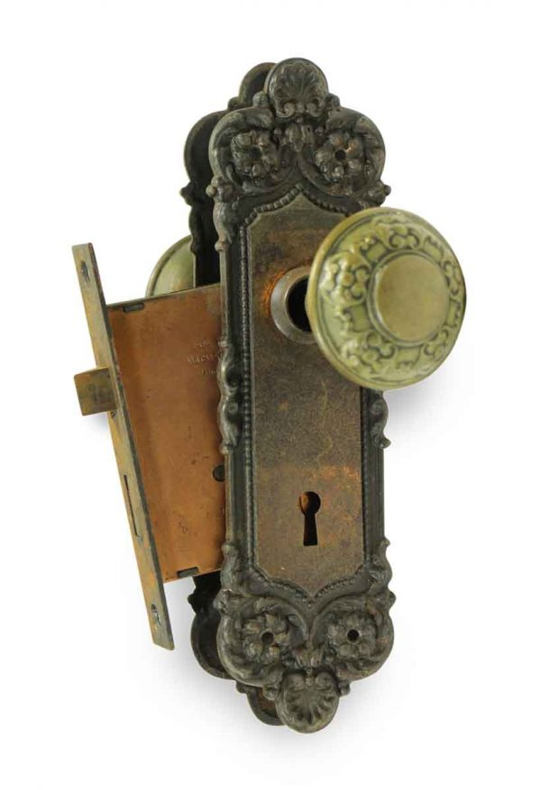 Door Knob Sets - Antique Yale & Towne Nubian Brass Knob & Lock Set