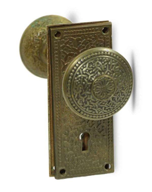 Door Knob Sets - Antique Yale & Towne Rice Pattern Door Knob Set