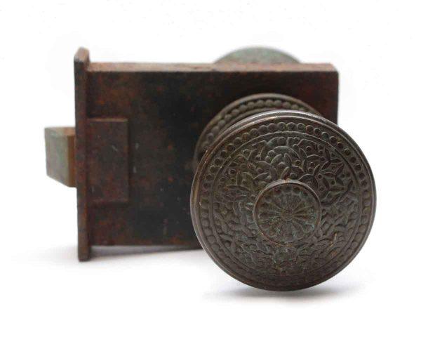 Door Knob Sets - Antique Yale & Towne Vernacular Bronze Rice Door Knob Set