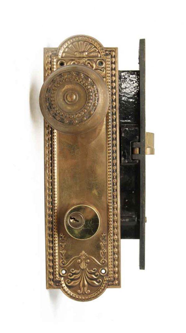 Door Knob Sets - Pressed Brass Beaded Corbin Entry Door Knob Set