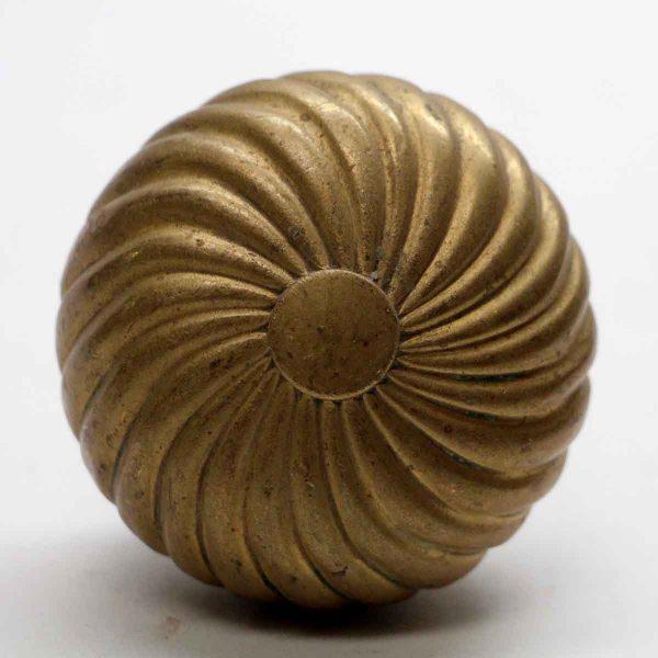 Door Knobs - Antique Ball Shaped Cast Brass Spiral Door Knob