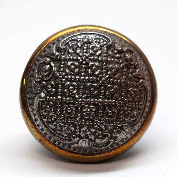 Door Knobs - Antique Branford Brass Rimmed Cast Iron Door Knob