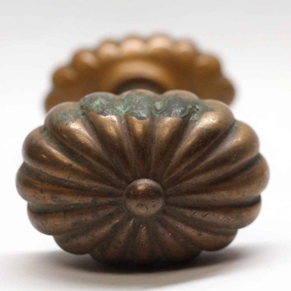 Door Knobs - Antique Niles Bronze Oval Fluted Entry Door Knob Set