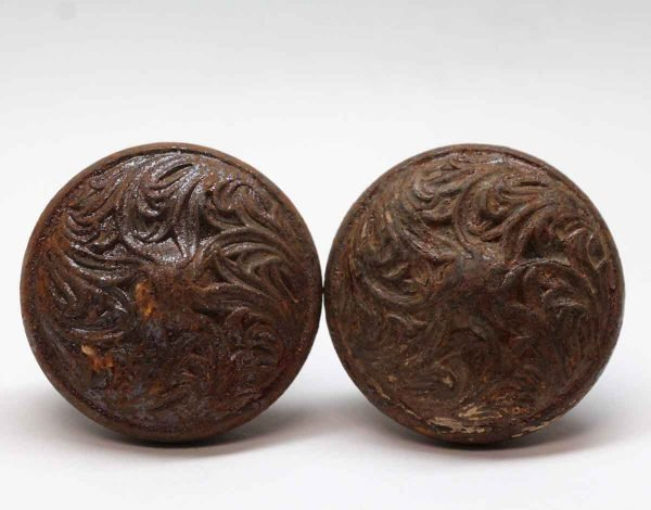 Door Knobs - Antique Swirl Lockwood Cast Iron Door Knobs