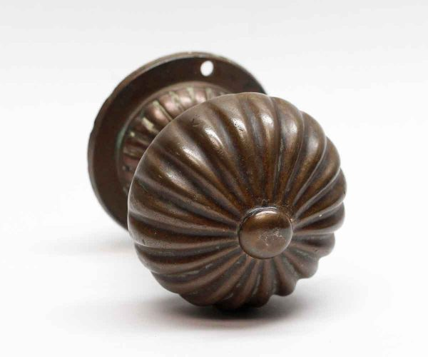 Door Knobs - Bronze Fluted Knob Pull with Rosette
