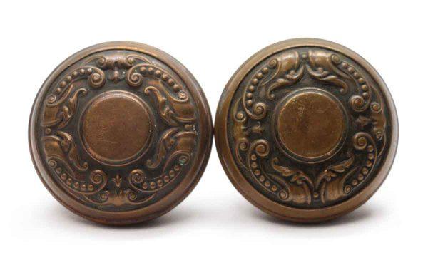 Door Knobs - Pair of Antique Brass Flemish Corbin Door Knobs